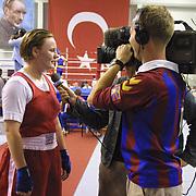 2. WOMEN'S WORLD BOXING CHAMPIONSHIPS.<br /> Denmark's Bettina Karlsen (L) semi final  winner.  Bettina with Denmark television team. Dilek Sabanci Sport Hall Antalya/Turkey<br /> Photo by Aykut AKICI/TurkSporFoto