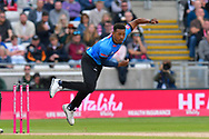 Chris Jordan of Sussex bowling during the Vitality T20 Finals Day semi final 2018 match between Sussex Sharks and Somerset County Cricket Club at Edgbaston, Birmingham, United Kingdom on 15 September 2018.