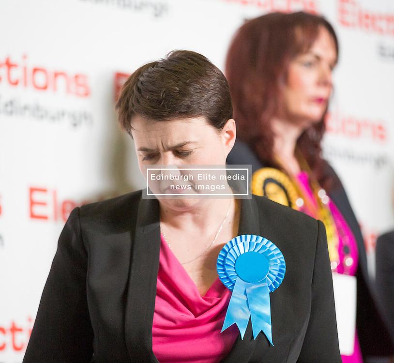 Scottish Parliament Election 2016 Royal Highland Centre Ingliston Edinburgh 05 May 2016; Ruth Davidson (Scottish Conservative leader) leaves the stage in front of Alison Dickie (SNP) during the Scottish Parliament Election 2016, Royal Highland Centre, Ingliston Edinburgh.<br /> <br /> (c) Chris McCluskie | Edinburgh Elite media