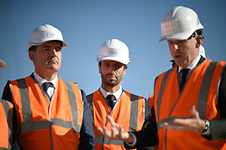Prime Minister Jean Castex and President of the Paris Organizing Committee of the 2024 Olympic and Paralympic Games Tony Estanguet attend French President's visit to the construction site of the 2024 Olympic Games Village in Saint-Ouen on the outskirts of Paris, France on October 14, 2021, part of a visit to construction sites dedicated to the Paris 2024 Olympic and Paralympic Games. Photo by Eliot Blondet/ABACAPRESS.COM