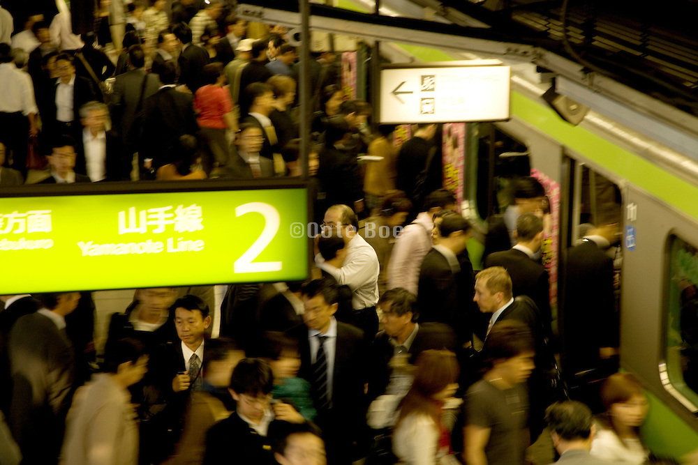 Rush hour crowds at one of Tokyo's train stations