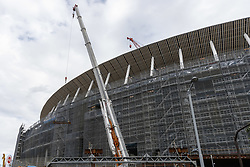 November 20, 2018 - Tokyo, Japan - Cranes are seen at the New National Stadium under construction in Tokyo's Shinjuku Ward. It will be the venue for the opening ceremony and the main stadium during the 2020 Tokyo Olympic and Paralympic Games. (Credit Image: © Rodrigo Reyes Marin/ZUMA Wire)