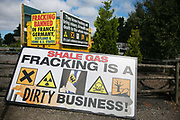 A sign put up by anti-fracking activists in New Preston Road, July 01 2017, Lancashire, United Kingdom. Fracking is a dirty business. Lancashire voted against permitting fracking but was over ruled by the conservative central Government.  Fracking is a highly contested way of extracting gas, it is risky to extract and damaging to the environment and is banned in parts of Europe . Lancashire has in the past experienced earth quakes blamed on fracking.