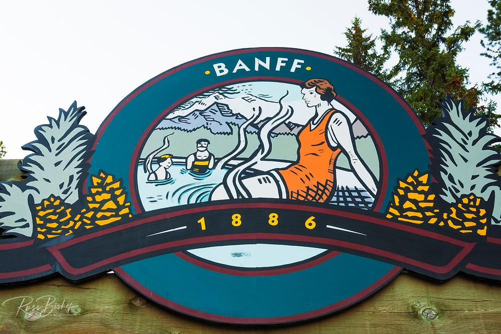 Sulphur Moutain Hot Springs sign, Banff National Park, Alberta, Canada