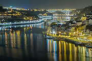 Duero panoramic views of City of Oporto by night, Portugal