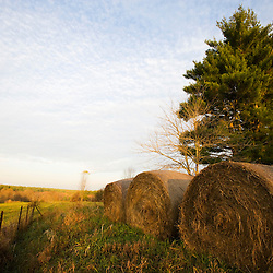 Hay bales on a farm in Groton, MA.