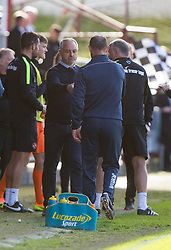 Dundee United's manager Ray McKinnon and Dunfermline's manager Allan Johnston at the end. Dunfermline 1 v 3 Dundee United, Scottish Championship game played 10/9/2016 at East End Park.