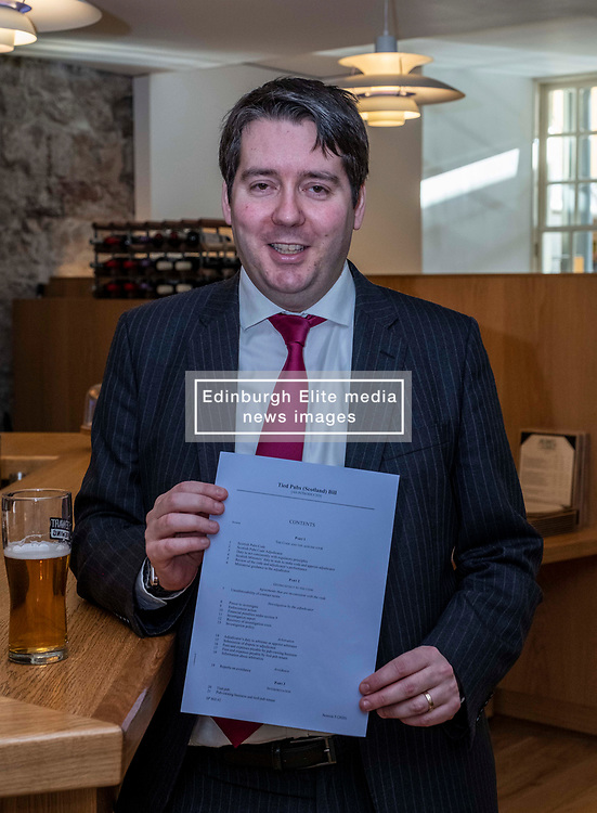 Pictured:  Neil Bibby, MSP, and his Bill<br /><br />Neil Bibby MSP will be joined by representatives from the Scottish Licensed Trade Association and the Campaign for Real Ale as he introduces his Tied Pubs Member's Bill. Lessons laernt from similar legislation in England have been taken into account in the Scottish Bill.<br /><br /><br />Ger Harley   EEm 4 February 2020