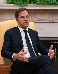 Mark Rutte, Prime Minster of The Netherlands speaks during a meeting with United States President Donald J. Trump at The White House in Washington, DC, July 2, 2018. Credit: Chris Kleponis / Abaca
