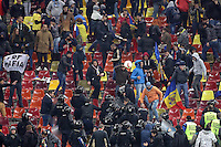 ROMANIA, Bucharest : Romania's fans during the Euro 2016 Group F qualifying football match Romania vs Northern Ireland in Bucharest, Romania on November 14, 2014.