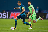 SAINT PETERSBURG, RUSSIA - NOVEMBER 04: Artem Dzyuba of Zenit St Petersburg and Cedat Muriqi of SS Lazio during the UEFA Champions League Group F stage match between Zenit St. Petersburg and SS Lazio at Gazprom Arena on November 4, 2020 in Saint Petersburg, Russia. (Photo by MB Media)