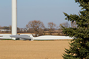 This photo is of  a wind farm under construction in Freeborn County Minnesota. Wind turbines in rural areas are part of the new sustainable energy future of the United States.