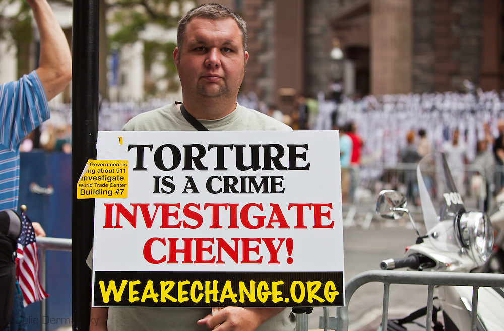 Protestor at September 11 Rally Against War, Racism & Islamophobia near Ground Zero on  the 10th anniversary of the 9/11 attacks on the World Trade Center towers.