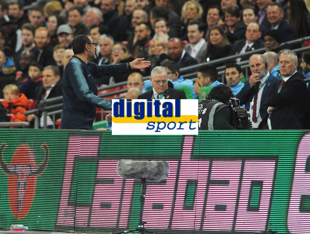 Football - 2019 EFL League Cup Final (Carabao Cup) - Manchester City vs. Chelsea<br /> <br /> Chelsea manager Maurizio Sarri shouts at the bench over the confusion of substitute keeper, Willy Caballero who was waiting to come on for, Kepa Arrizabalaga before Kepa refused to come off at Wembley Stadium.<br /> <br /> COLORSPORT/ANDREW COWIE