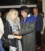 NICOLA SARGEANT; RONNIE WOOD;;  ALAN DAVIDSON , Faces, Time and Places. Symbolic Collection & Ronnie Wood private view, Cork St. London. 8 November 2011.<br /> <br /> <br />  , -DO NOT ARCHIVE-© Copyright Photograph by Dafydd Jones. 248 Clapham Rd. London SW9 0PZ. Tel 0207 820 0771. www.dafjones.com.