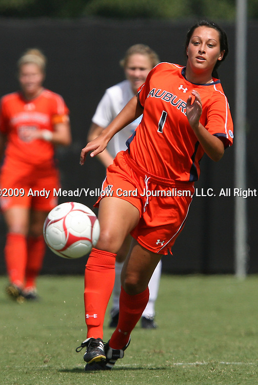 20 September 2009: Auburn's Ashley Marks. The University of North Carolina Tar Heels played the Auburn University Tigers to a 0-0 tie after overtime at Koskinen Stadium in Durham, North Carolina in an NCAA Division I Women's college soccer game.