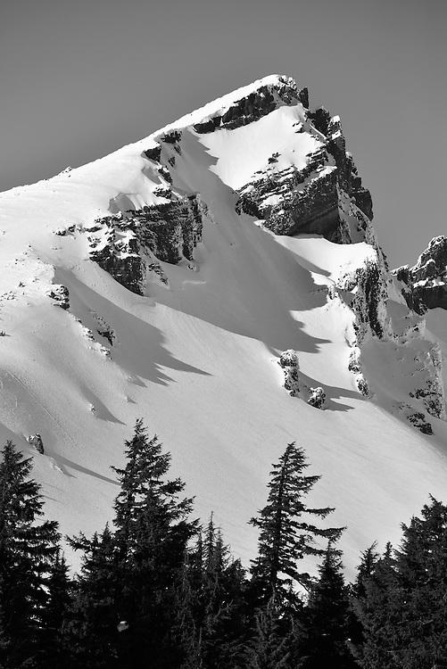Broken Top in winter.  Broken top is a stratovolcano in the Cascade Range of Oregon.