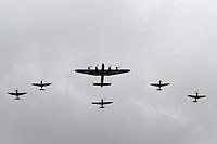 LONDON - JUNE 05: Battle of Britain Memorial Flight; Avro Lancaster, Hawker Hurricane, Supermarine Spitfires; The Queen's Diamond Jubilee, The Mall, London, UK. June 05, 2012. (Photo by Richard Goldschmidt)