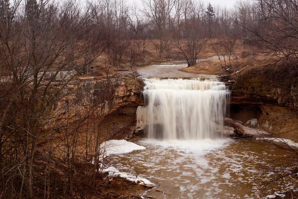 Fonferek Falls in Green Bay, Wisconsin During Spring Thaw