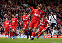 Photo. Jed Wee, Digitalsport<br /> Liverpool v Tottenham Hotspurs, Barclays Premiership, 16/04/2005.<br /> Liverpool's Steven Gerrard hangs his head after hescuffs his penalty into the Kop, as Tottenham's Ledley King applauds his woeful effort.