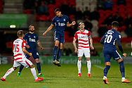 Southend United midfielder Timothee Dieng (8) heads the ball away during the EFL Sky Bet League 1 match between Doncaster Rovers and Southend United at the Keepmoat Stadium, Doncaster, England on 12 February 2019.