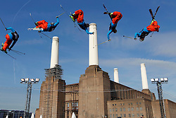© Licensed to London News Pictures. 28/10/2011, London, UK.  In a combination picture sequence, Britain's Andy Matthew jumps during the Battle of Britain freestyle ski competition at the Freeze Snowboard and Ski Festival at Battersea Power Station in London, Friday, Oct. 28, 2011. Photo credit : Sang Tan/LNP