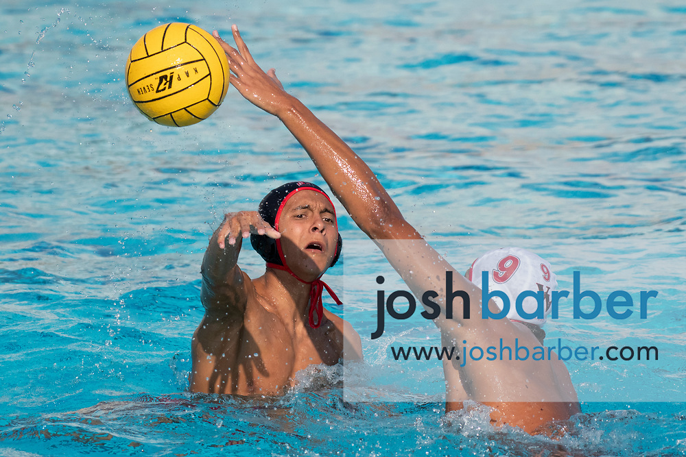 Tustin's Edsson Sandoval during the CIFS-SS Division 6 Championship Final at William Woollett Jr. Aquatic Center on Saturday, November 10, 2018 in Irvine, Calif. Valley View won 10-9. (Photo by Josh Barber, Contributing Photographer)