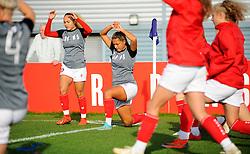 Ebony Salmon and Abi Harrison of Bristol City warm up prior to kick-off- Mandatory by-line: Nizaam Jones/JMP - 27/10/2019 - FOOTBALL - Stoke Gifford Stadium - Bristol, England - Bristol City Women v Tottenham Hotspur Women - Barclays FA Women's Super League