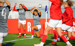 Ebony Salmon and Abi Harrison of Bristol City warm up prior to kick-off- Mandatory by-line: Nizaam Jones/JMP - 27/10/2019 - FOOTBALL - Stoke Gifford Stadium - Bristol, England - Bristol City Women v Tottenham Hotspur Women - Barclays FA Women's Super League