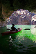 Kayaking on the Colorado River, Lake Mead National Recreation Area, near Las Vegas, Nevada.  (model released)
