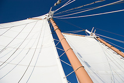 Sails and lines on sailboat, Boothbay Harbor, Maine.