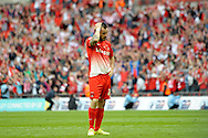 Leyton Orient's Chris Dagnall looks dejected after missing a penalty. Skybet football league one play off final match , Leyton Orient  v Rotherham Utd at Wembley Stadium in  London on Sunday 25th May 2014.<br /> pic by John Patrick Fletcher, Andrew Orchard sports photography.