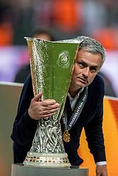 24-05-2017 SWE: Final Europa League AFC Ajax - Manchester United, Stockholm<br /> Finale Europa League tussen Ajax en Manchester United in het Friends Arena te Stockholm / José Mourinho (POR) of Manchester United met de UEFA cup trophy