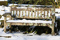 Wooden bench in the snow at Glebe Cottage