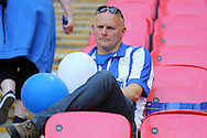 a Dejected Sheffield Wednesday fan looks on during the presentation after full time. Skybet football league Championship play off final match, Hull city v Sheffield Wednesday at Wembley Stadium in London on Saturday 28th May 2016.<br /> pic by John Patrick Fletcher, Andrew Orchard sports photography.