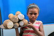 Africa, Madagascar, Portrait of young food vendor