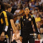 Skylar Diggins, Tulsa Shock,  during warm up before the Connecticut Sun Vs Tulsa Shock WNBA regular season game at Mohegan Sun Arena, Uncasville, Connecticut, USA. 3rd July 2014. Photo Tim Clayton