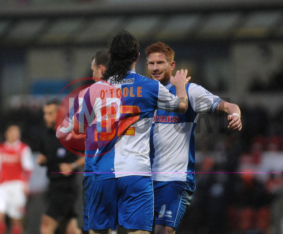 Bristol Rovers' John-Joe OToole celebrates his goal with Bristol Rovers' Matt Harrold - Photo mandatory by-line: Dougie Allward/JMP - Tel: Mobile: 07966 386802 14/12/2013 - SPORT - Football - Morecombe - Globe Arena - Morecombe v Bristol Rovers - Sky Bet League Two