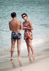 Princess Margaret in swimming costume chats to a friend on the beach whilst on holiday in Mustique in 1976.<br /> Photo: Anwar Hussein
