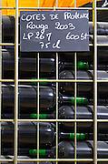 bottles stored in wire cages domaine du vieux lazaret chateauneuf du pape rhone france