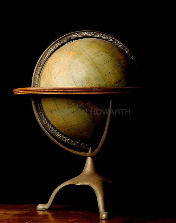 Antique globe with brass base