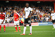 Port Vale's Jordan Slew waits to take a penality. Skybet football league one match, Crewe Alexandra v Port Vale at the Alexandra Stadium in Crewe on Saturday 13th Sept 2014.<br /> pic by Chris Stading, Andrew Orchard sports photography.