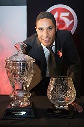 CARDIFF, WALES - Wednesday, November 11, 2009: Wales' Ashley Williams with the Welsh Player of the Year and Welsh Club Player of the Year trophies during the Football Association of Wales Player of the Year Awards hosted by Brains SA at the Cardiff City Stadium. (Pic by David Rawcliffe/Propaganda)
