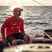 Leg 4, Melbourne to Hong Kong, day 10 on board MAPFRE, Guillermo Altadill in the leeward side checking the front sails. Photo by Ugo Fonolla/Volvo Ocean Race. 11 January, 2018.