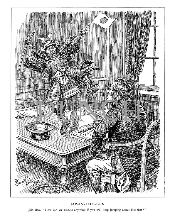 "Jap-in-the-Box. John Bull. ""How can we discuss anything if you  will keep jumping around like that?"" (a violent Japanese Samurai jumps on John Bull's desk while he reads the headline Tientsin Dispute)"