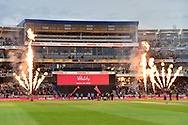 Sussex and Worcestershire come on to the field for the final during the final of the Vitality T20 Finals Day 2018 match between Worcestershire Rapids and Sussex Sharks at Edgbaston, Birmingham, United Kingdom on 15 September 2018.