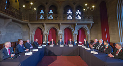 © Licensed to London News Pictures . 03/11/2014 . Manchester , UK . The Chancellor of the Exchequer , GEORGE OSBORNE MP (centre) , at Manchester Town Hall signing a deal to devolve power to Greater Manchester , including giving the city a Mayor and greater control over its finances . Photo credit : Joel Goodman/LNP