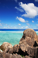 famous and beautiful beach of anse source d'argent at La Digue one of the seychelles island