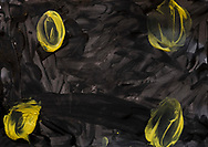 """Name: Rabar<br /> Age: 9<br /> Title: """"Eyes of Fear""""<br /> Colors: Black = Darkness, yellow = Light<br /> The black means darkness. The yellow spots are eyes. Who's eyes are they? No one's, there is no one behind the eyes."""