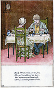 Jack Sprat could eat not fat/His wife could eat no lean. Illustration by Kate Greenaway (1846-1901) for a book of nursery rhymes. Chromolithograph